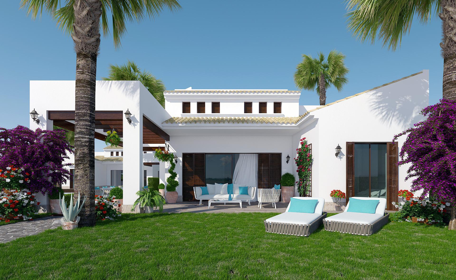 Villa style hacienda moderne immo espagne for Casa con jardin valencia